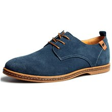 Plus Size Men Shoes 2015 New Suede Genuine Leather Fashion Flat Men Casual Oxford Shoes Men Leather Shoes(China (Mainland))