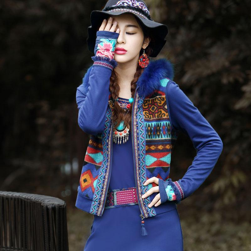 BOHOCHIC Original Vintage Gypsy Tank Top Ethnic Embroidery Jacquard Short Hoodie Vest Without Fur Collar AR0050Q Boho Chic