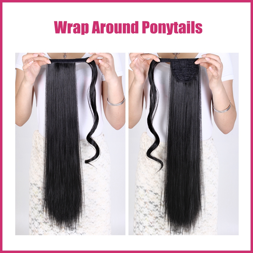1PC Straight Long 24 60cm Wrap Around Pony Tail Hair Extension Ponytail Extension P001 Good Quality Drop Shipping <br><br>Aliexpress