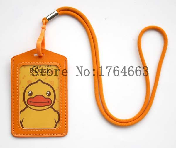 Wholesale 2015 new 10 pcs Cartoon Duck Strap lanyard yellow leather Card sets Holder Badge for(China (Mainland))