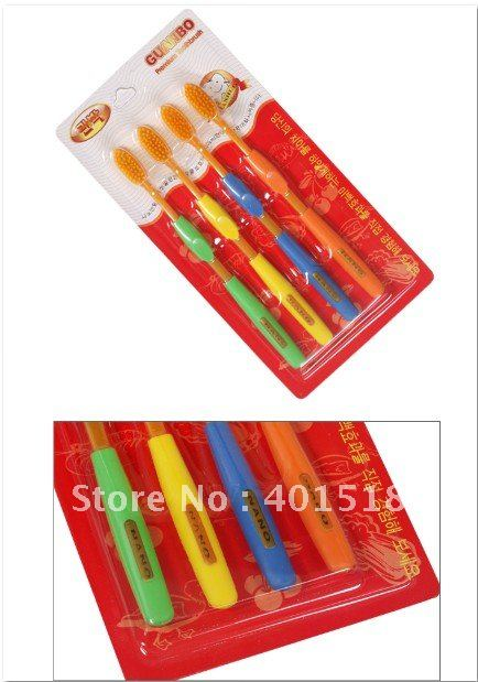 Wholesale Free Shipping Yellow Nano Bamboo Anion Charcoal Health Dual Adult Toothbrush High Quality 4pcs/pack(China (Mainland))