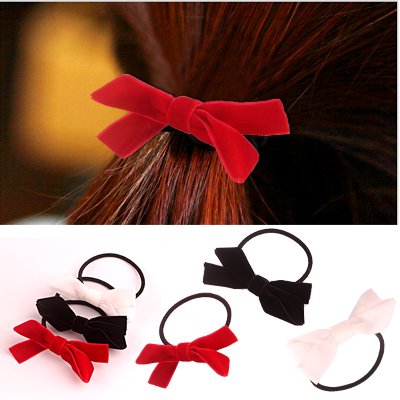 Newest Cute Kids Elastic Hair Bands 3 Color/Lot Two Cross Velvet Hair Band Solid Color Girls Bows Hair Accessories RDFQ02003(China (Mainland))