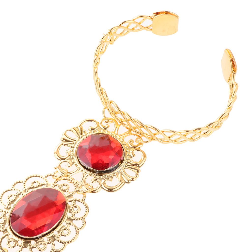 Stylish Belly Dance Gypsy Egyptian Indian Gold Bracelet Finger Nails Red Gem Hand Jewelry for Stage Performance