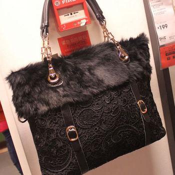 Vintage sweet lace rabbit one shoulder chain women's handbag cross-body all-match elegant fur bag