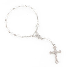 7mm Faceted Acrylic Beads Rosary Bracelet With Silver Lobster Made Metal Maria Center & Jesus Crucifix Cross Pendants(China)