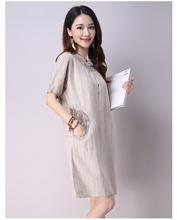 Hot Sale Vintage Style Summer Women Dress Literary Short Sleeve Knee-length Dress Loose Casual Dress Free Shipping