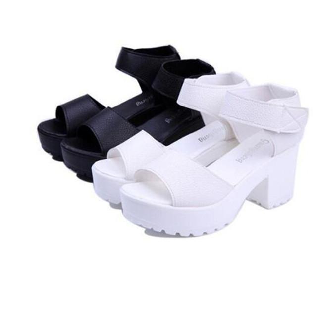 2016 летняя женщина белый черный сандалии мода платформа мягкая Кожа PU является ...