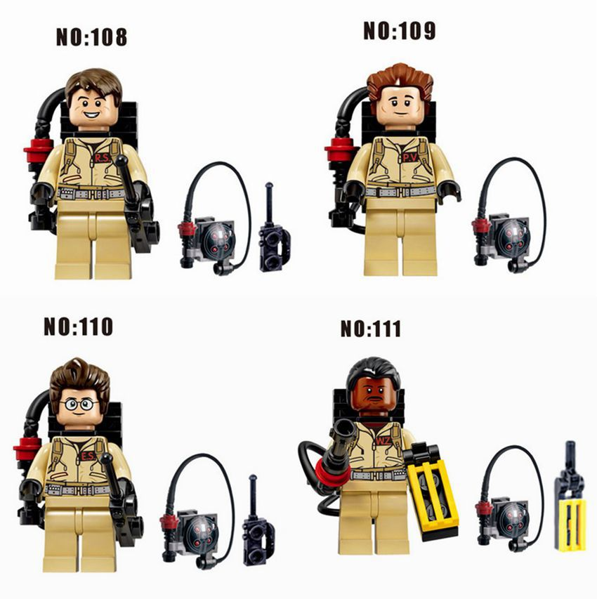80pcs/lot Ghostbusters Minifigures Custom Ray Peter Egon & Winston Minifig for legoe block sets Ghost Buster minifigure bricks(China (Mainland))
