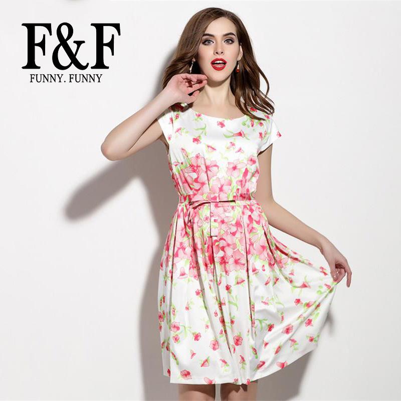 Casual White Floral Print Ladies Dress Sashes Peplum Short Sleeve 2016 Summer New Elegant Preppy Style Dress FunnyFunny