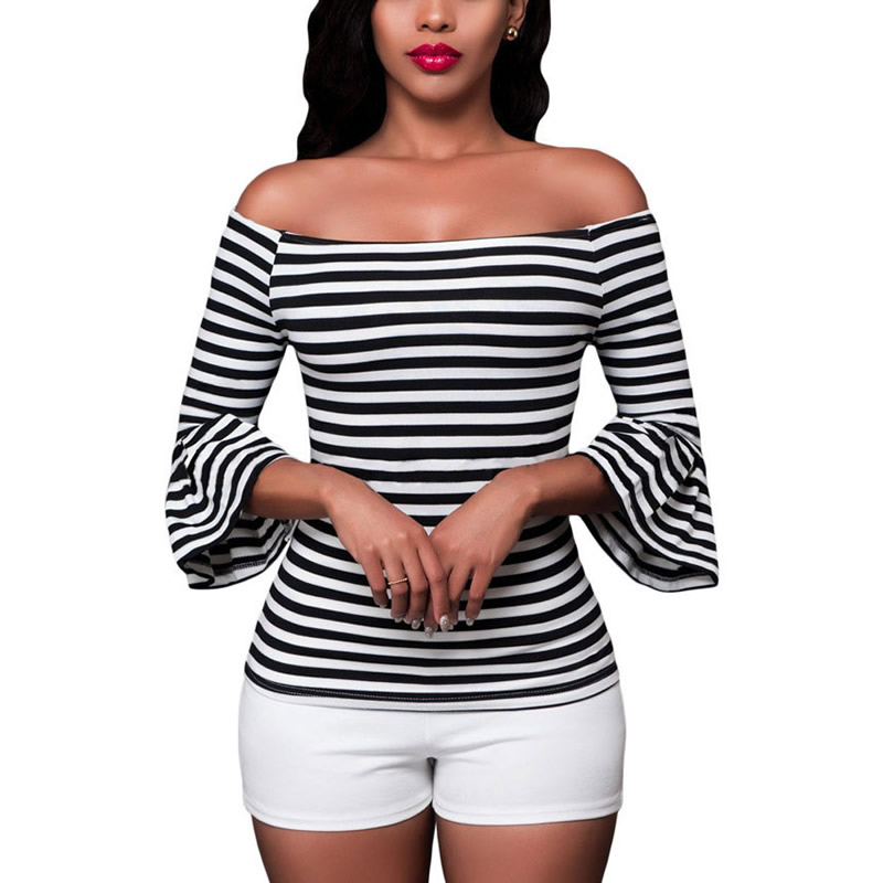 High Quality Women half Sleeve solid Black/White Blouse Stripe Pattern Cotton Blend boat neck Tops Batwing Blouses(China (Mainland))