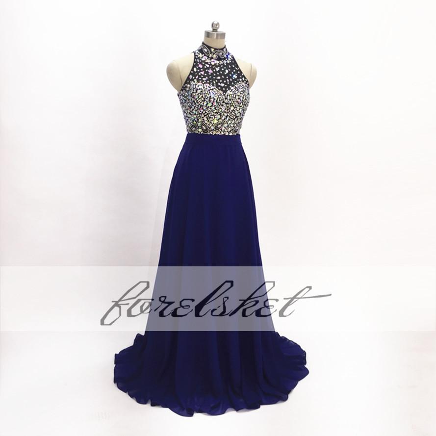 Royal Blue long Evening Dresses 2017 chiffon Prom Dresses Crystal Beading Open Back Handwork See Through halter beaded