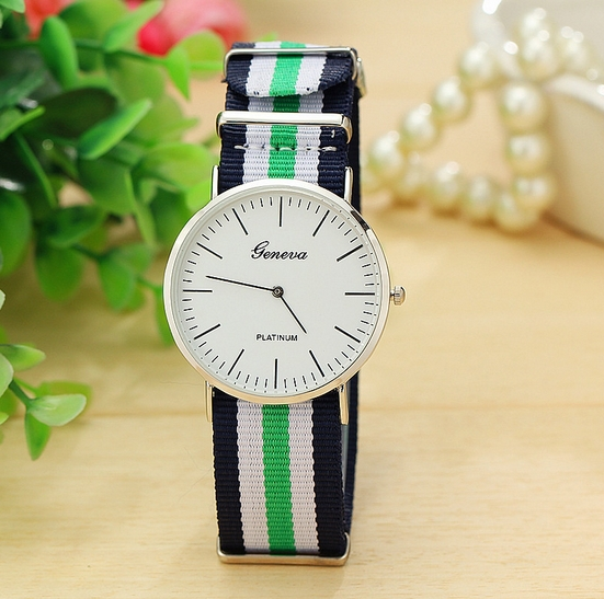 Free shipping 2015 New Geneva simple calibrated dial with slim stylish men s striped nylon watch
