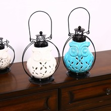 AIBEI-Ceramic Owl hollow out Candle Holders Modern White/Blue Lantern Wrought Iron Candlestick Home Decor(China (Mainland))