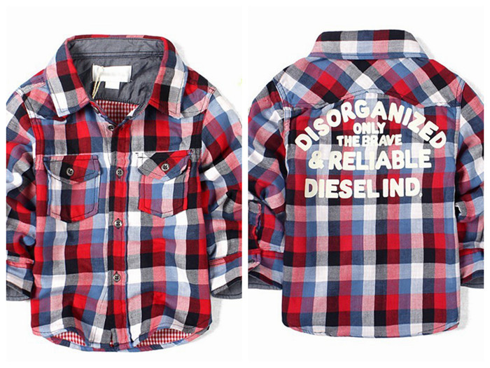 2014 New Autumn Boys Plaid Shirts  Childrens Fashion  Shirts With Pockets Free Shipping<br><br>Aliexpress