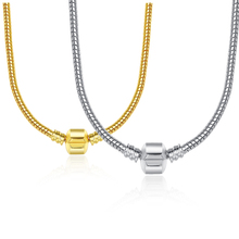 2 Style 44CM Silver Gold Plated Charm Fit Necklace Snake Chain Necklace Silver Plated 925 Original