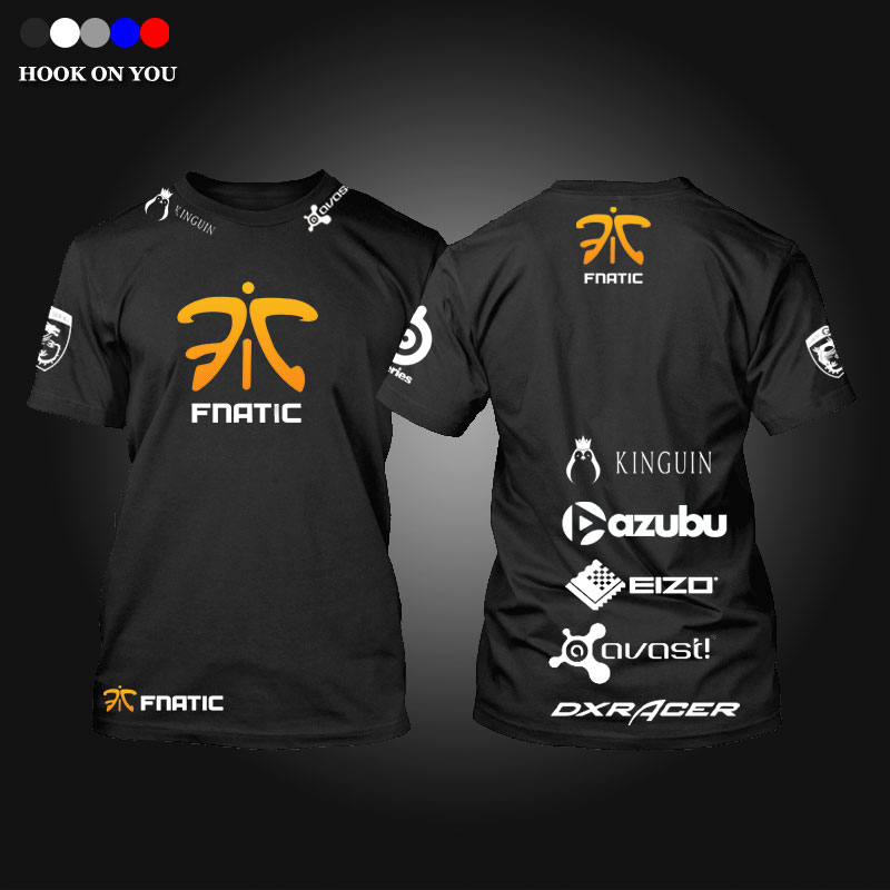 Free shipping CSGO LOL Champion Game Team Fnatic T Shirt O Neck cotton casual Tees steelseries Game Athletics T-Shirt(China (Mainland))