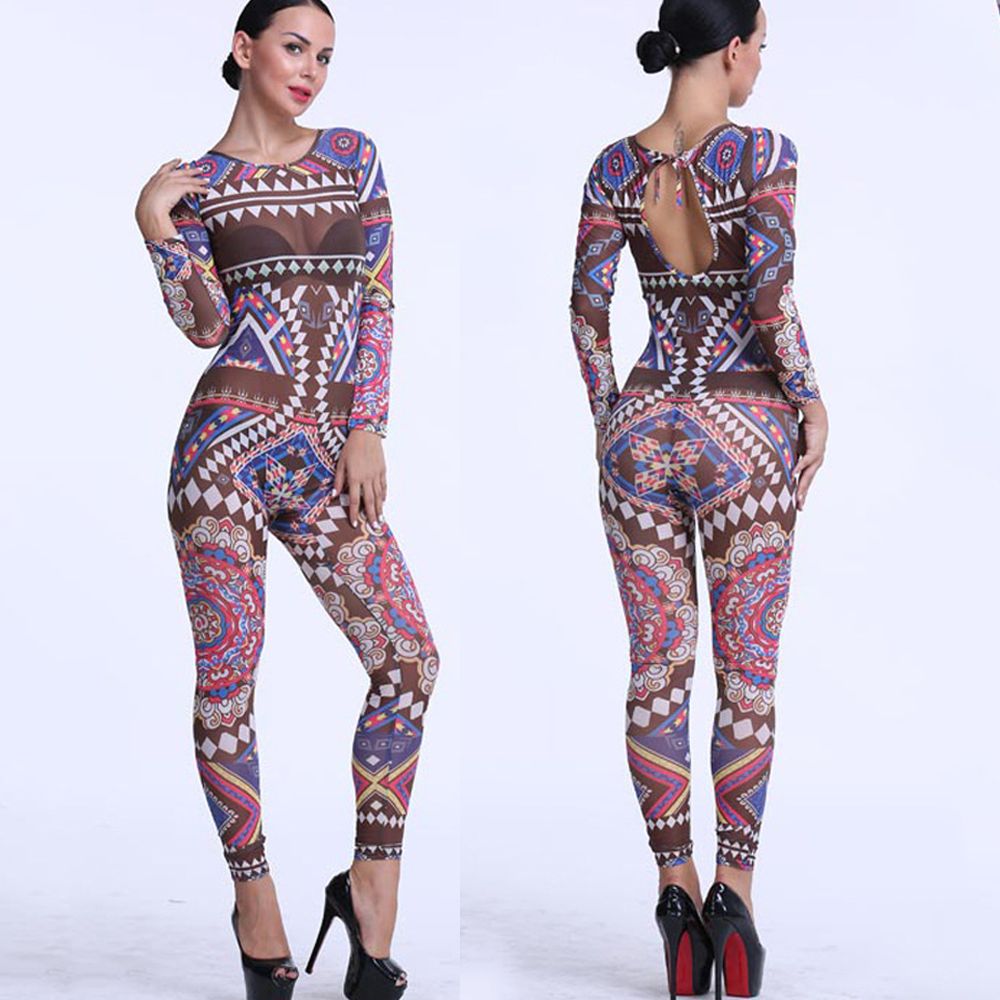 Bodycon Jumpsuit 2016 Long Sleeve Tribal Tattoo Print Mesh See Through Overalls Sexy Club Bodysuits Womens Jumpsuit Rompers(China (Mainland))
