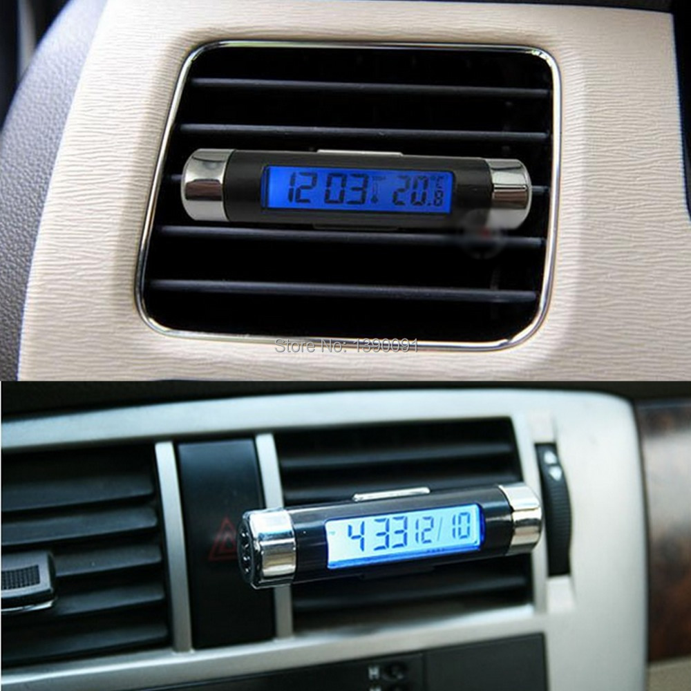 Free shipping 1pc New 2in1 Car Auto LCD Clip-on Digital Backlight Automotive Thermometer Clock-J117(China (Mainland))