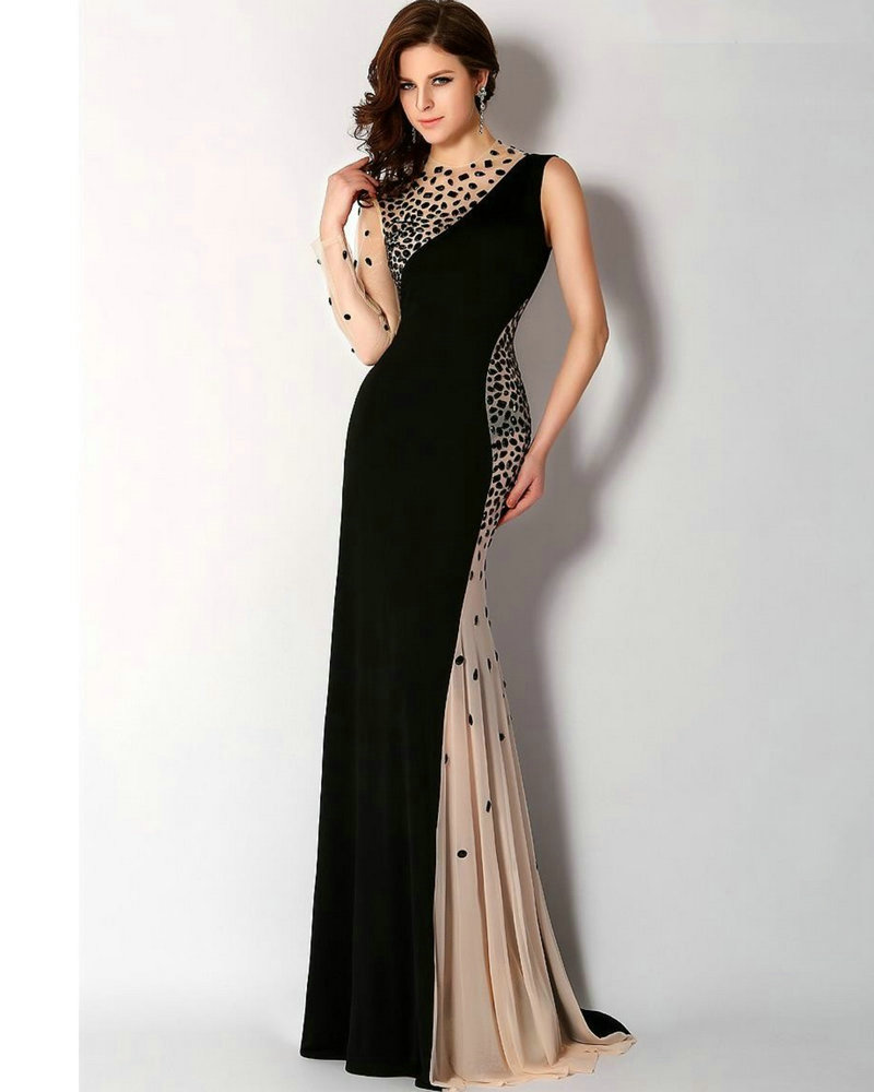 Evening Dress Full Sleeves Chiffon One Shoulder Evening Gowns robe de