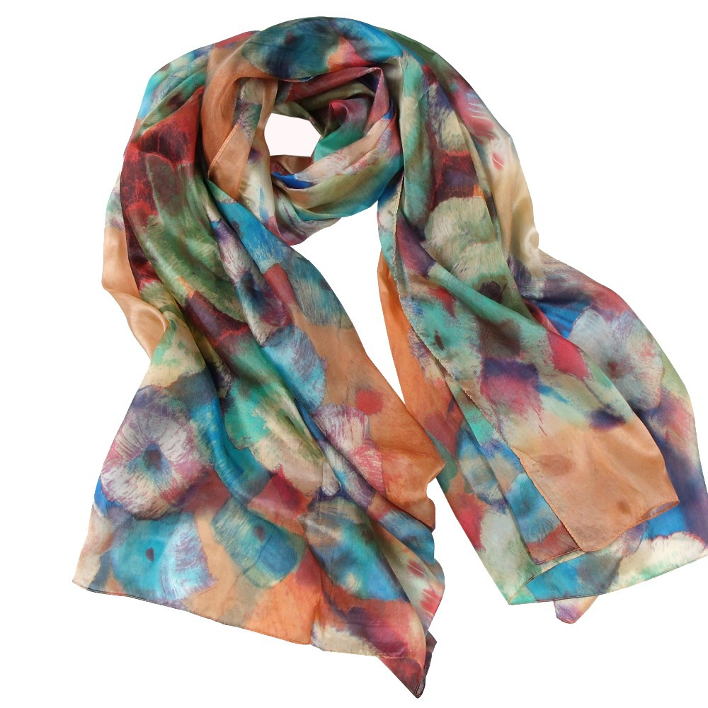 2014 Women Coffee Blue Long Scarf Shawl Fashion Hot Sale Female 100% Mulberry Silk Floral Pattern Silk Scarf Printed 180*110cm(China (Mainland))