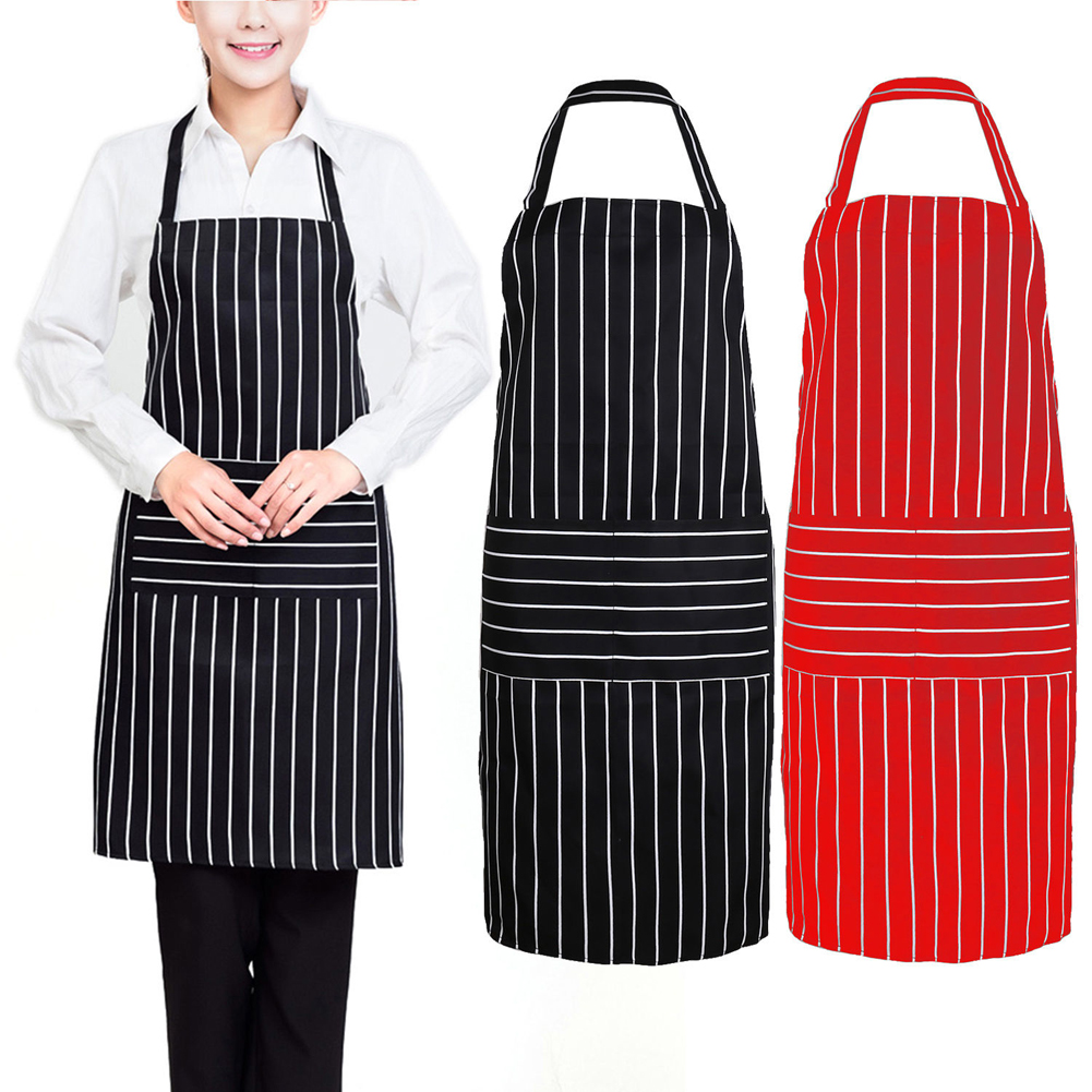 Apron For Kitchen : /Red Creative Stripe Kitchen Apron for Women Men Useful Cooking Apron ...