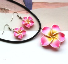 Pink Hawaii Flowers Crystal Earrings Pendant Necklace Polymer Clay Jewelry Set(China (Mainland))