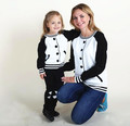 2016 Ins hot Baseball design Mother Daughter jacket Girls Family Matching Outfits For Mother And Daughter