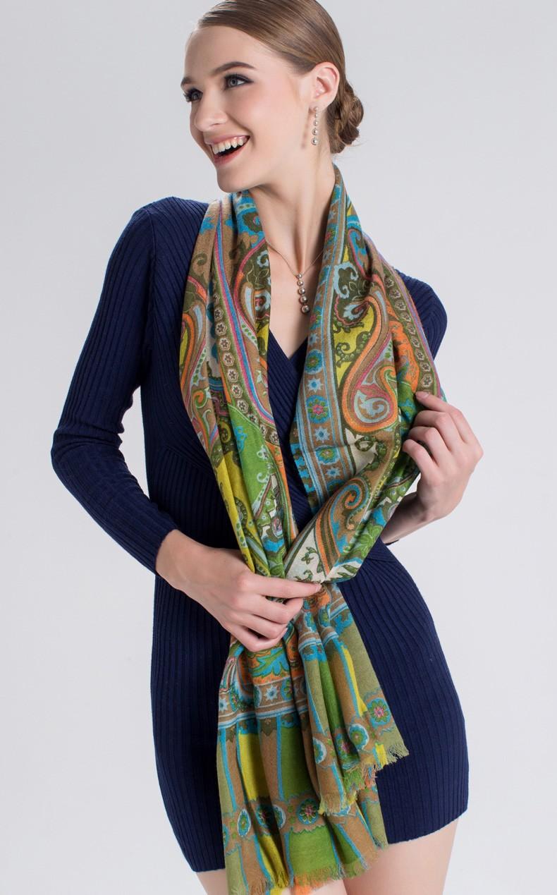 Women Wool Scarf  Female Floral Print Designer Scarves Nobility Mysterious Pashmina Shawl Winter Women Ladies Soft  Scarf