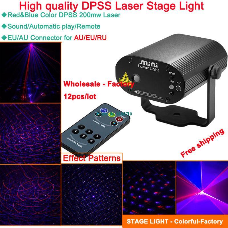 Фотография wholesale 12pcs mini R blue laser Projector remote lines pattern effect Light DJ dance Disco bar Xmas Party Stage Lights Show
