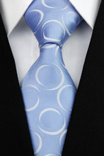NT0106 Blue White Circle Fashion Jacquard Woven Classic Silk Polyester Man s Business Wedding Luxury Tie