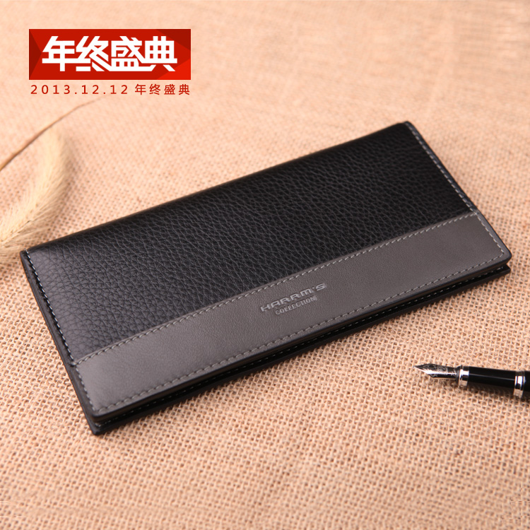 Free Shipping new 2014 Famous Brand Genuine Leather Men's Wallet Long Money Bags For Men Black Purse(China (Mainland))