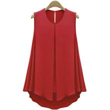 Summer Style Apricot/Blue Chiffon Blouses Women Fashion Ruffles Tops Sleeveless O-neck Casual Women Shirts Pure Color Plus Size(China (Mainland))