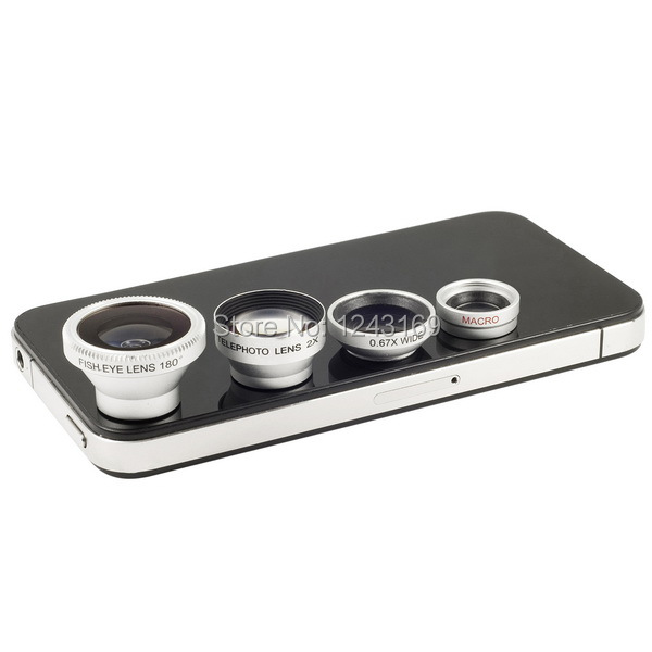 4in1 Lens Kit Telephoto + 180 Degree Fisheye + Wide Angle + Micro Lens for iPhone 5 4 4S iPad Samsung S3 S4 HTC M8 M7 DC266S-SZ