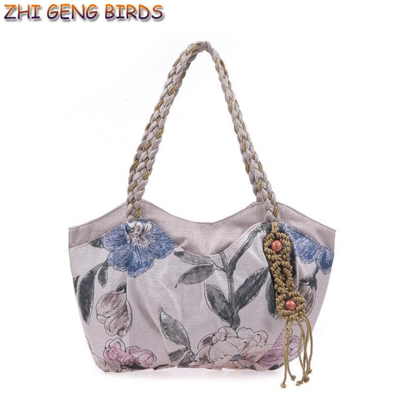 ZHI GENG BIRD Top-handle Bag Canvas Handbag Women Handmade Floral Shoulder Bags Bolsa National Chinese Style Handbag Ethnic Tote(China (Mainland))