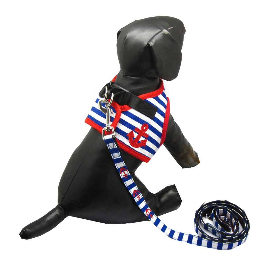 2015 Dog Summer Clothes Style Breathable Blue Striped Dog Vest Clothing For Dogs Puppy Adjust Harness Vest Outdoor Accesories(China (Mainland))