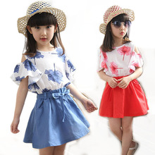 Girls Skirts Set 2015 Summer Hot Girl Skirt Sets 2 Pieces Chiffon Maple Short sleeve Shirt