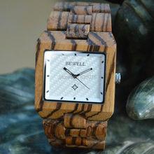 Cara cuadrada 2015 súper ventas de buena calidad natural de madera del reloj para hombre
