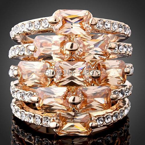 Topaz Citrine Austrian Crystal 18K Rose White Gold plated Women Ring Size 6 7 8 9(China (Mainland))