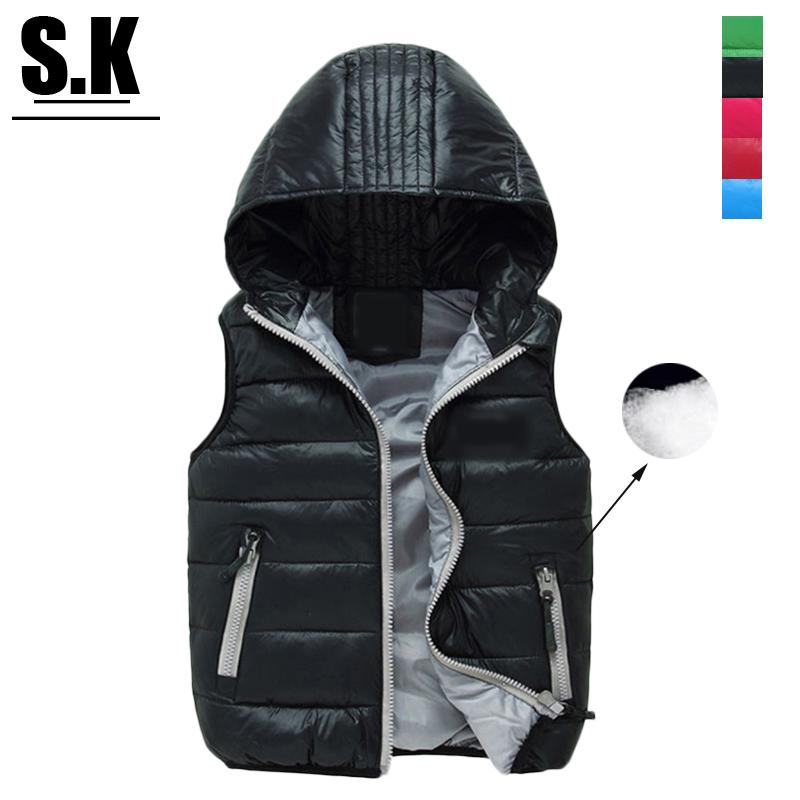 Brand Sunshine Kid Autumn&Winter Children Black Hooded Vest Coat For Girls Fill in White Duck Down Outwear Girls Boys Vest Jackt(China (Mainland))
