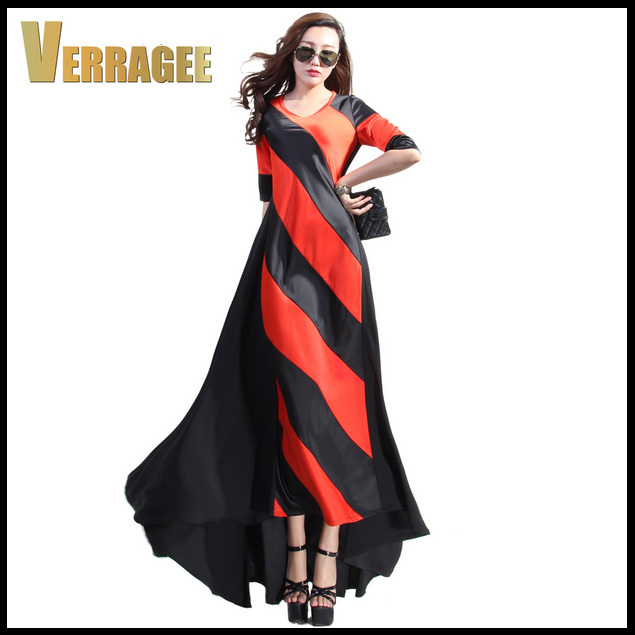 2015 New Fashion Womens Striped Patchwork Maxi Dress Elegant Floor Length Twill Plus Size Long Mermaid S-XXL - Boutique cottages store