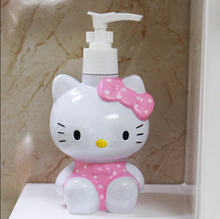 1X Cute Kawaii Portable Hello Kitty Emulsion Perfume Shower Gel Bottle Pressure Spray Water Bottle Tube 220ml Kids Gift(China (Mainland))
