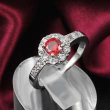 GALAXY Fashion Jewelry Red CZ Diamond Ruby Rings With 18K White Gold Plated Wedding Rings For
