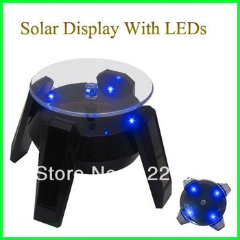 Wholesale! Solar Display With LEDs/Solar Stand/Solar Turntable Display For Jewelry Mobile Digital Base 8pcs/lot Free Shipping