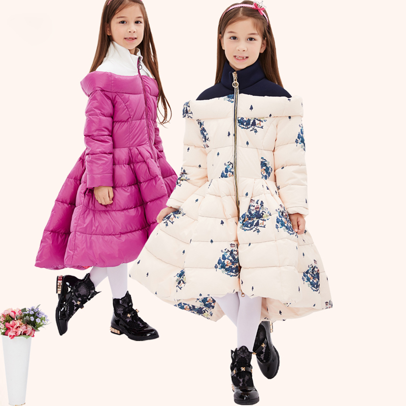 Down & Parkas 2017 Children Winter Stitching high collar Thick Down jackets Princess Girl Long Warm Cartoon Coat Kids Outerwear
