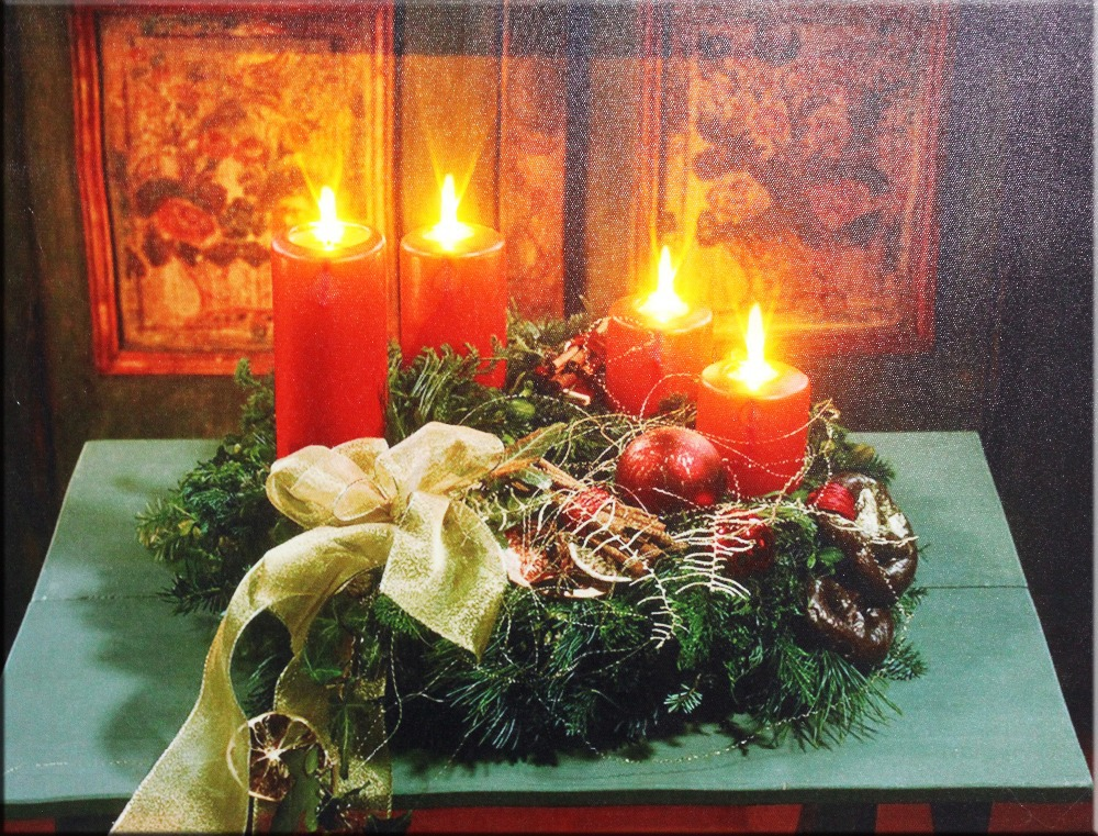 High Quanlity for gift,stretched and framed art work , canvas prints with led candle lights for holiday gift wholesale(China (Mainland))