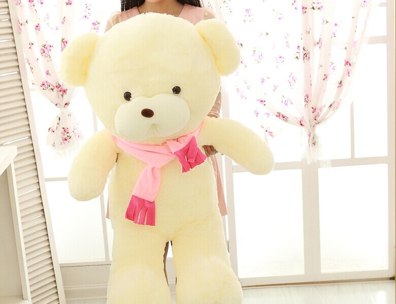 huge lovely teddy bear toy pink scarf bear toy big creative bear toy gift doll about 100cm(China (Mainland))