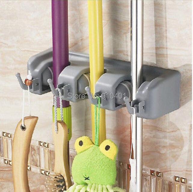Grátis frete atacado e varejo promoção Modern 3 posição banho Mop Broom ferramentas titular limpeza do lar com 4 cabides(China (Mainland))