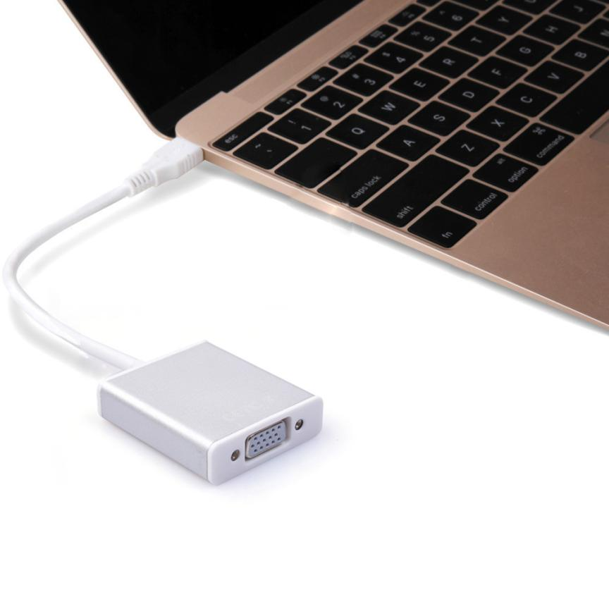 Good Sale USB 3.1 Type C USB-C to VGA Adapter Reversible for New Macbook 12 inch Free shipping May 10(China (Mainland))