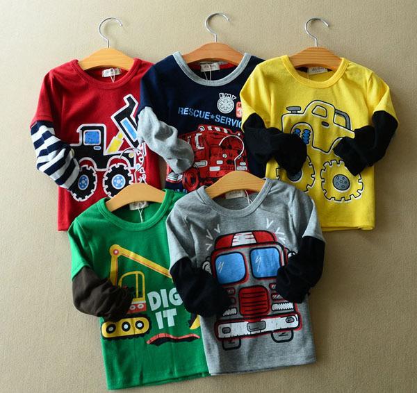 Pls order any 2pcs in the shop Size100~140 child clothing children tops tees boys long sleeve t-shirt girls t shirt car trucks(China (Mainland))