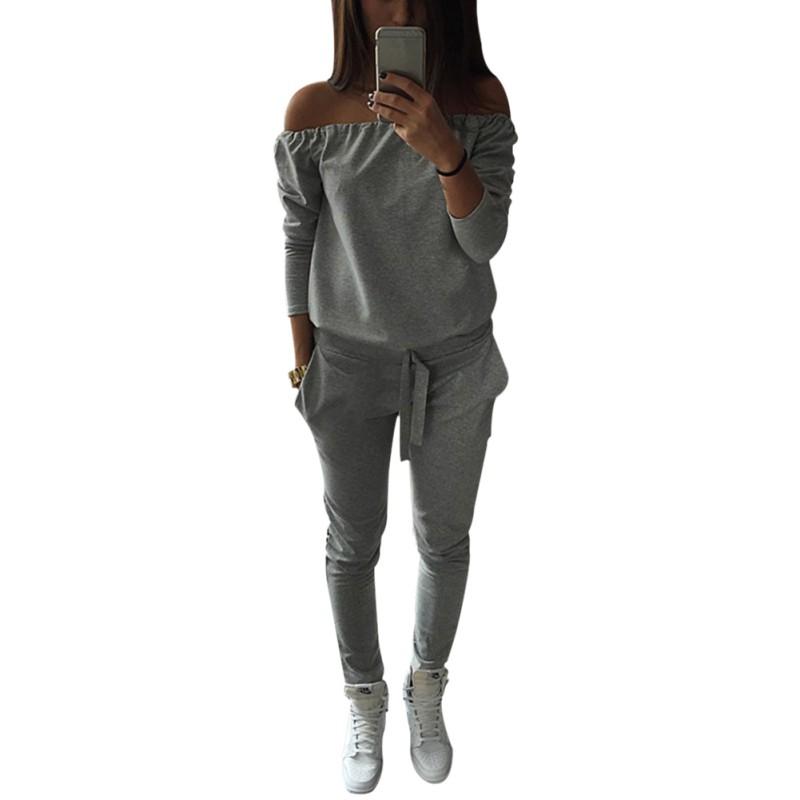 Модные Осенние Женская Одежда Набор Повседневная Женщины Спортивный Костюм Спортивная Одежда Slash Шеи Топы и Брюки